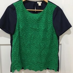 J. Crew blue with green lace front short sleeve